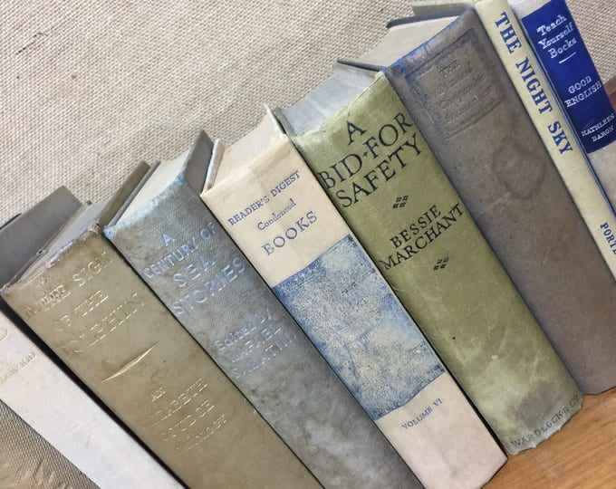 GREY CREAM TAUPE  Vintage Book Collection - Grey Home Decor - Old Books Decoration - Foot Long Shelf Staging - Vintage Book