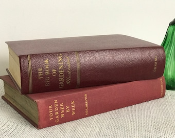 Gardening Books | Vintage Garden Books | Garden Book Collection | Green Fingers | Red Books | Decorative Red Books