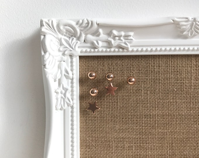 Featured listing image: WHITE BULLETIN BOARD | Framed Notice Board | Framed Pin Board | Burlap Bulletin Board | White Hessian Vision Board | Jute Message Board