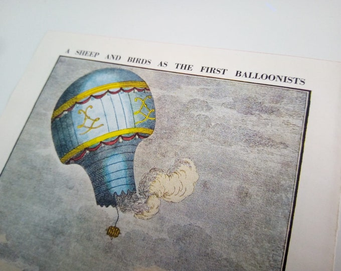 A Sheep and Birds As The First Balloonists | Victorian Hot Air Balloon in Blue | Victorian Book Page Print