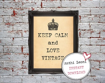 Keep Calm and Love Vintage Printable Old Book Paper Vintage Printable Antique and Vintage Shop Decor Window Display Instant Download #0025