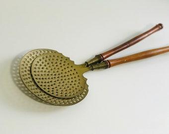 Antique Wooden Long Handled Brass Chestnut Warmers