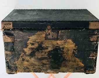Large Black Pirates Treasure Chest Trunk For Coffee Table Interior Design Home Decor or Photography Prop