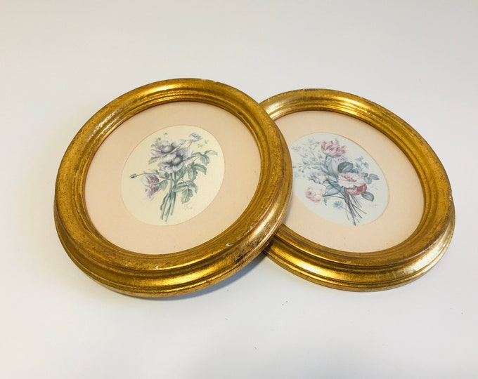 Pair of Oval Gold Framed Botanical Prints Made in Italy