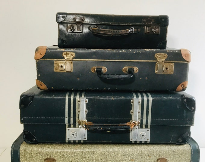 Grey Blue Vintage Suitcase Stack Set of 4 Suitcases Grey Home Decor Retro Luggage Stack Vintage Storage Solution Photo Props Interior Design