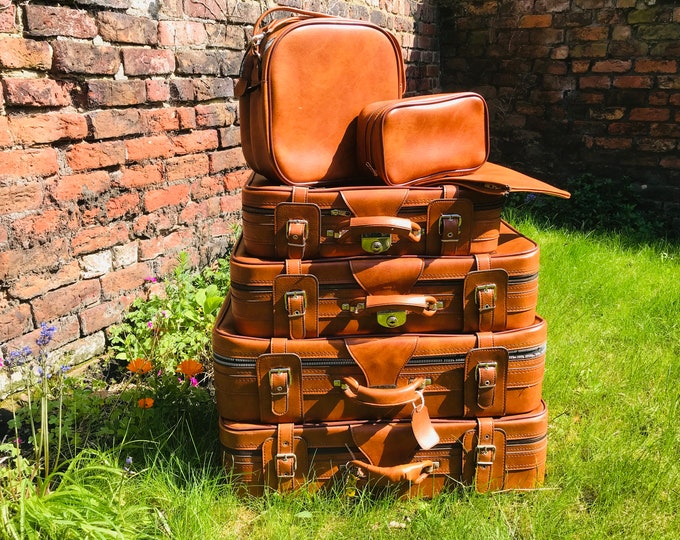 Retro Vintage Suitcases in Burnt Orange Tan Brown | Vintage Retro Luggage Suitcase Stack For Interior Design Photo Props or Storage