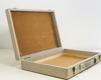 Vintage Wooden Box Case Taupe and Cream Faux Leather Skin Jewellery Case For Art Box or Decor | Small Cases For Craft Paper Stash