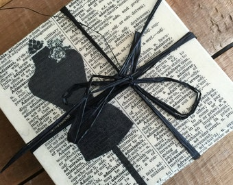 Black and Cream Coasters Sewing Inspired Dictionary Print Coasters - Decoupaged Coasters - Sewing Room Decor - Cream and Black Home decor
