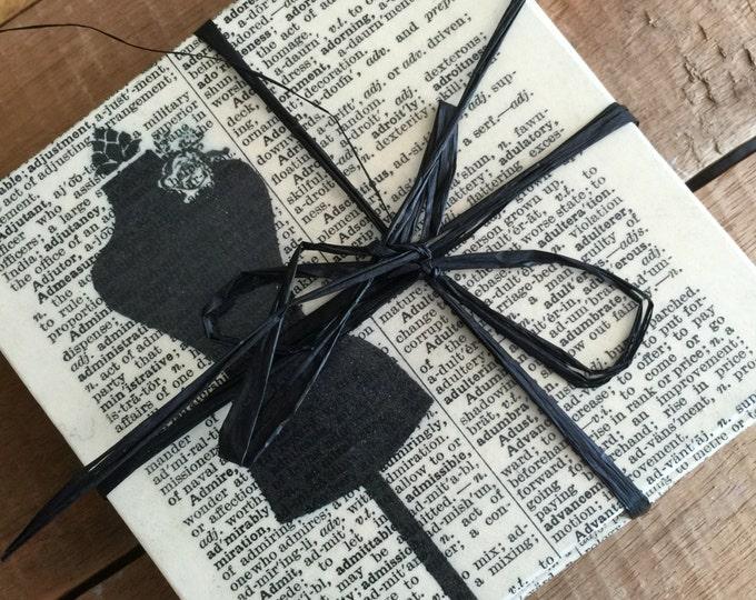 Black and Cream Coasters Sewing Inspired Dictionary Print Coasters - Decoupaged Coasters - Sewing Room Decor - Cream and Black Home decor