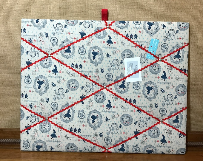 Alice Lover Gift | Memo Board in Alice in Wonderland Fabric | Girls Notice Board | Fabric Pin Boards | Red and Blue | Message Boards