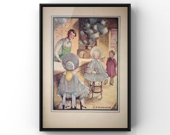 Children's Victorian Style Print | Girls and Boys Room Wall Art Decor | Antique Style Book Page Print | SC00354