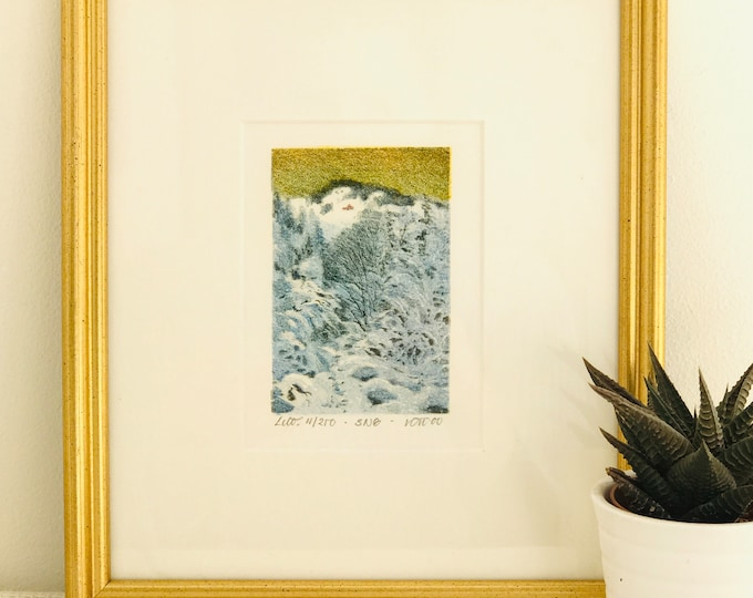 Limited Edition Watercolour Print by Norwegian Artist Kjell Thorjussen Mounted in White with Slender Gold Vintage Frame