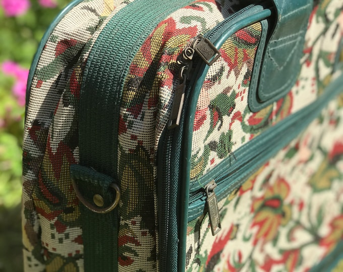 Vintage Tapestry Suitcase in Teal Blue Green | Retro Luggage | Small Light Weekend Travel Case | 80s Suitcase Luggage