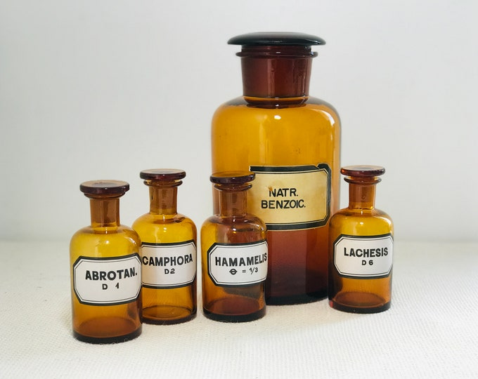 Antique Apothecary Jars with Labels and Stoppers | Amber Glass Pharmacy Bottles | Lidded Chemistry Jars | Quirky Steampunk Interior Decor
