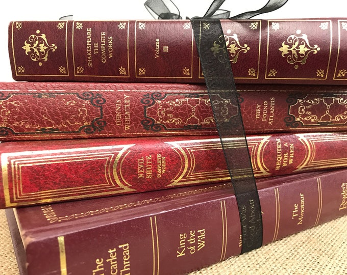 Faux Leather Books Old Books Decoration For Library Decor Instant Library Red and Gold Home Decor and Interior Design