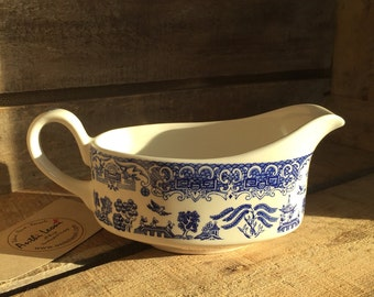 Blue and White Sauce Boat Gravy Jug Old Willow Pattern Ironstone Pottery Circa 1970s Retro Dinnerware Country Farmhouse Kitchenalia