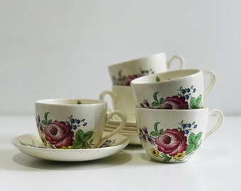 Vintage Rare Spode China Cups and Saucers x 5 | Pretty Pink Floral Tea or Coffee Cups by Spode