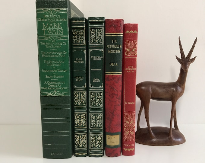 Green, Red and Gold Decorative Book Collection Old Leather Bound Books for Decoration Home Library Interior Decor Shelf