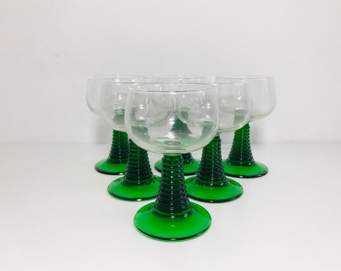 Heavy Green Stemmed Roemer Goblets Set of 6 | 1970s Rummer Wine Glasses | Retro Bar and Cocktail Ware