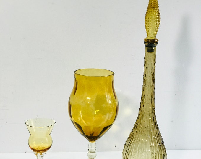 Vintage 1960s Italian Empoli Glass Genie Bottle Decanter and Collection of Retro Amber Glass for Interior Decor | Large Bubble Glass Bottle