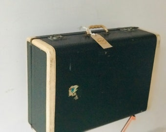 Green and Cream Trimmed Vintage Suitcase circa 1920-30s | Art Deco Style Vintage Luggage | Old Suitcase Prop