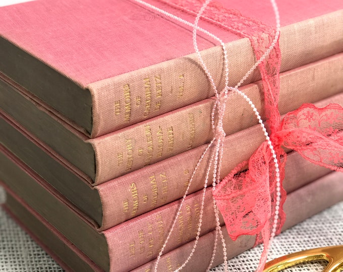 Small Pink Books | Pink Books | Pink and Gold Books | Pink Decor | Pink and Gold Decor | Decorative Books | Vintage Pink Books