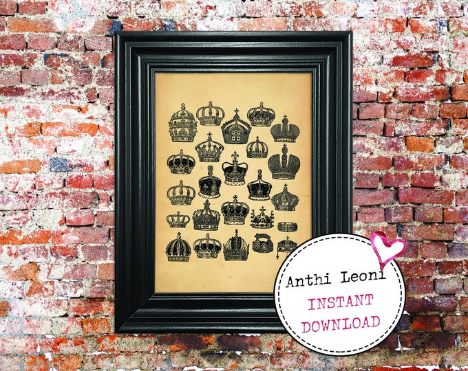 Antique Crowns Instant download | Vintage Paper Monarch Headgear Print Design | Old Crowns Book Illustration | Just Download and Print #0009