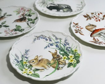 Royal Albert The Country Walk Collection Collectible Plates x 4 | Bone China Collectors Decorative Wall Plate | Woodland Characters