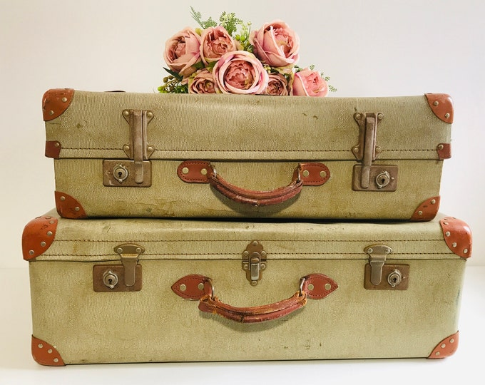 Set of 1930s Vintage Suitcases with Brown Tan Trim and Handles | Vintage Luggage Set of 2 | Luggage Suitcase Stack