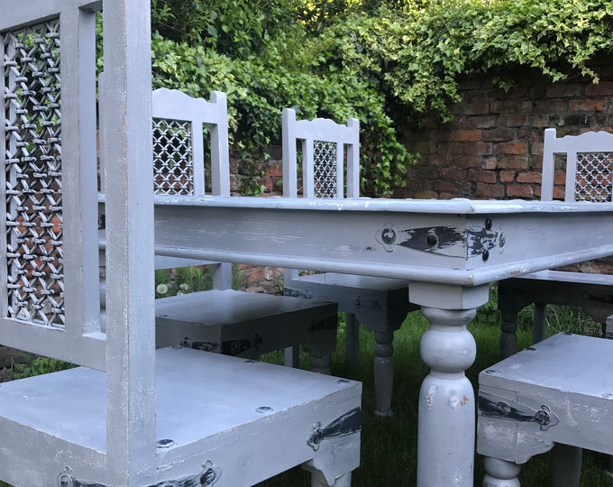 Grey Dining Table and Chairs Painted in Rustic Farmhouse Style Table and Chairs Set of 6 High Back Kitchen Dining Chairs and Table Set UK