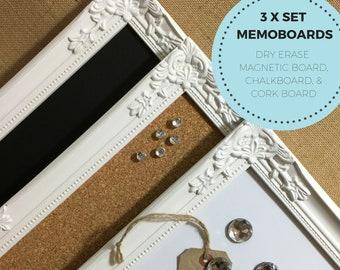 Noticeboard Set of 3 Idea Board Gift White Dry Erase Cork Board Memo Board Memo Boards Pin Board White Framed Bulletin Boards Notice Board
