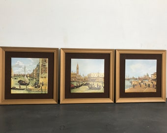 Set of 3 Canaletto Gold Framed Hand Painted Tiles of Italy | Decorative Wall Tiles | Venetian Wall Tiles in Frames