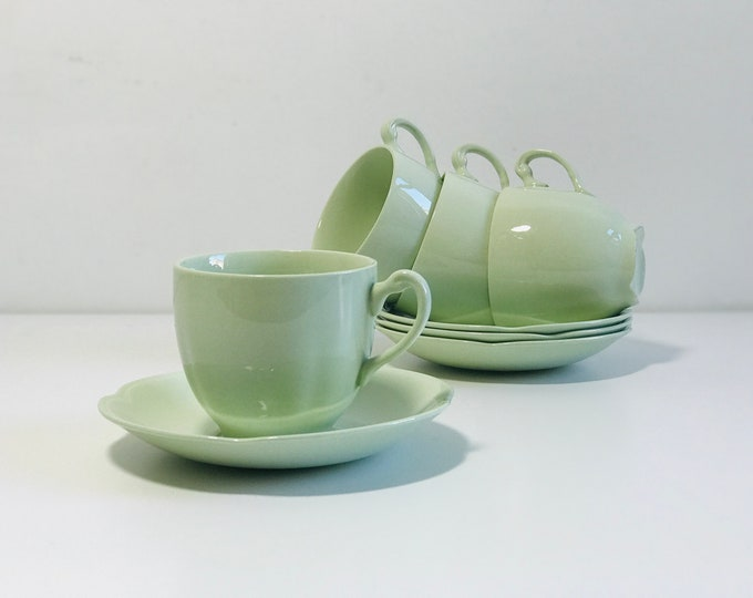 Mint Green Retro China Teacups and Saucers Set of 4 | Mid Century Serving Ware