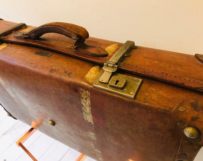 Brown Antique Leather Revelation Suitcase | Vintage Designer Style Luggage