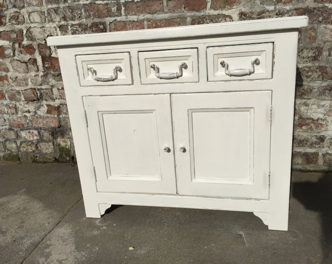 White Cabinet with 3 Drawers White Farmhouse Country Style Kitchen Cupboard Painted Furniture Dining Room or Entryway Furniture