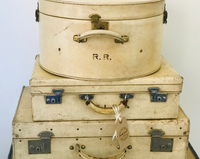 Cream Vintage Luggage Collection For Home Interior Decor Antique 1920s Art Deco Designer Style Leather Suitcase Set Home or Retail Display