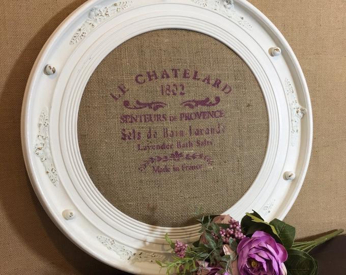 Decorative Round Pin Board | French Shabby Chic Decor | Farmhouse Style Wall Decor | Rustic Notice Board | Kitchen Memo Board