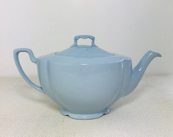 Powder Blue China Tea Pot by Johnson Bros | 1950s Retro English Mid Century Pottery Teapot