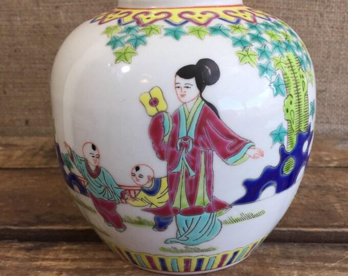 Oriental Jar Chinese Famille Rose Number 6   Vintage 19th Century Collectible Ceramic Chinese Ginger Jar