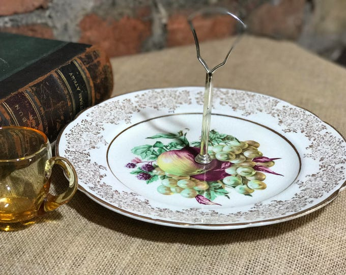 Porcelain Cake Plate | Single Tier Cake Plate with Gold Handle Fitting | Pretty Painted Fruit on Plate with Gold Gilt