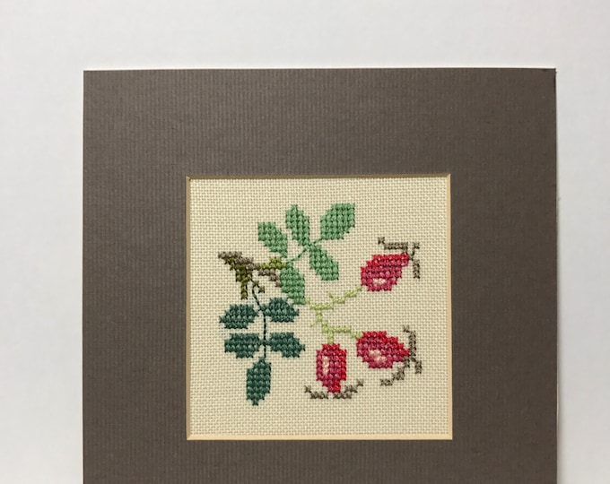 Vintage Cross Stitch Sampler of a bunch of 3 Cherries Mounted on in Brown | Nursery Decor | Nursery Room Decor | Kitchen Wall Decor