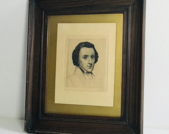 Antique 19th Century Regency Dry Point Etching of Frederic Chopin | Collectible Portrait Picture on Paper Mounted in Gold and Framed in Oak
