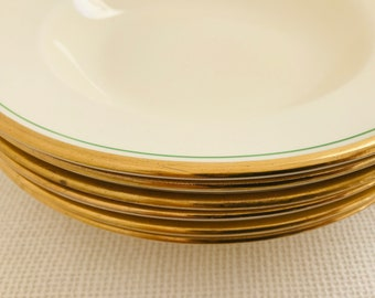 "Cream Wedgwood & Co Ltd China Bowls with Gilt Gold and Green Stripe Rim 2726 Pattern | 9"" China Deep Plates 