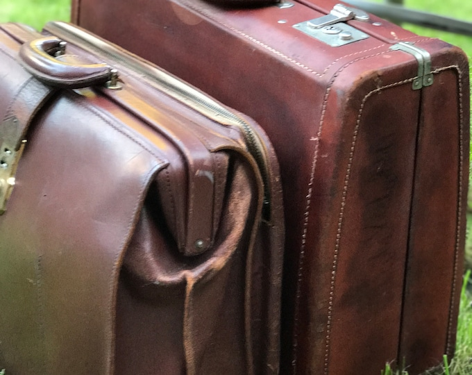 Vintage Brown Leather Doctors Bag and Mens Leather Luggage Bag Vintage Steampunk Leather Bag Vintage Suitcase Luggage Cases