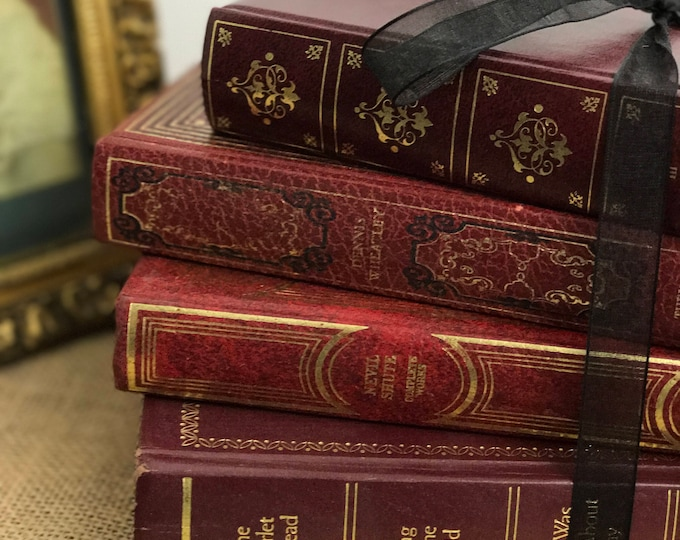 Red and Gold Books | Junk Journal Books | Old Books Decoration | Instant Library | Red | Black | Gold | Interior Design | Library Decor