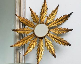 Vintage Gold Metal Sunburst Mirror Vintage Ornamental Starburst Mirror French Style Opulent Home Decor