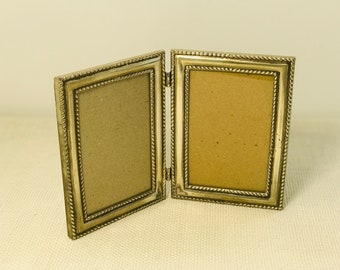 Small Silver Plated Portrait Picture Folding Double Frame Backed in Black Velvet