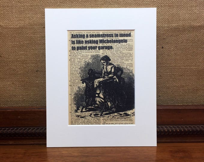 Vintage Dictionary Print   Sewing Print   Funny Humour Quote Print   Book Page Print   Crafters Gift   Sewing Gift   Craft Room Decor
