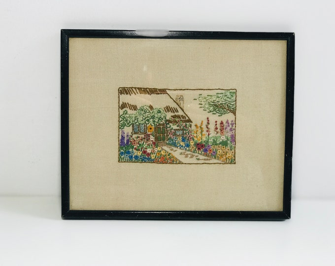 Antique Victorian Framed Embroidered Needlework on Linen of an English Cottage Garden Scene | Craft Room Wall Decor | Crafters Gift
