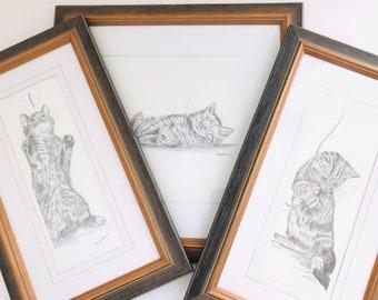 Vintage Framed Cat Sketch Art Print Set of 3 Signed